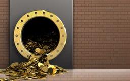 3d gouden muntstukken over bakstenen muur Stock Foto