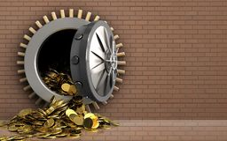 3d gouden muntstukken over bakstenen muur Royalty-vrije Stock Foto