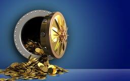 3d gouden muntstukken over blauw Stock Foto's