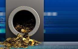 3d gouden muntstukken over cyber Royalty-vrije Stock Foto