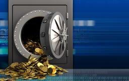 3d gouden muntstukken over cyber Royalty-vrije Stock Afbeeldingen