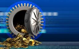 3d gouden muntstukken over cyber Stock Afbeelding