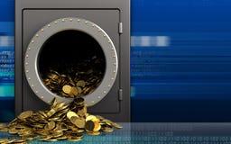 3d gouden muntstukken over cyber Stock Foto