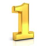 3D gouden nummer één, 1 geïsoleerd over wit Stock Afbeelding