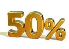 3d Gouden 50 Percententeken Stock Foto's