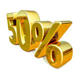 3d Gouden 50 Percententeken Stock Fotografie
