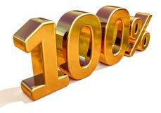 3d Gouden Teken van de 100 Honderd Percentenkorting Royalty-vrije Stock Foto's