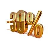 3d Gouden Teken van de 30 Percentenkorting Royalty-vrije Stock Afbeelding