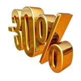 3d Gouden Teken van de 30 Percentenkorting Stock Foto