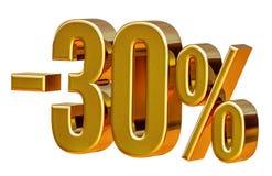 3d Gouden Teken van de 30 Percentenkorting Stock Afbeeldingen