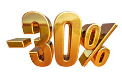 3d Gouden Teken van de 30 Percentenkorting Stock Foto's