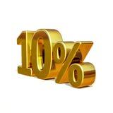 3d Gouden Teken van de 10 Tien Percentenkorting Stock Afbeeldingen