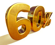 3d Gouden Teken van de 60 Zestig Percentenkorting Royalty-vrije Stock Afbeeldingen