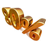 3d Gouden Teken van 80 Tachtig Percentenkorting Stock Foto's