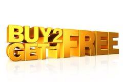 3D gouden tekst koopt 2 krijgt 1 vrij Stock Afbeeldingen