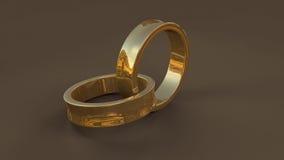 3d gouden trouwring twee Stock Foto's