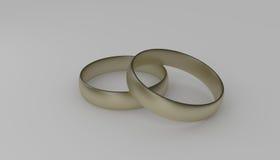 3d gouden trouwring twee Royalty-vrije Stock Foto
