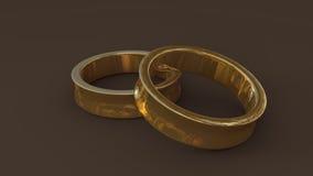 3d gouden trouwring twee Stock Afbeeldingen