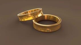 3d gouden trouwring twee Stock Foto