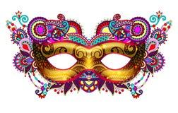 3d gouden Venetiaans Carnaval-maskersilhouet met sier bloemen Royalty-vrije Stock Afbeeldingen
