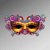 3d gouden Venetiaans Carnaval-maskersilhouet met sierfeathe vector illustratie