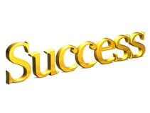 3D Gouden Word Succes op witte achtergrond Stock Foto's