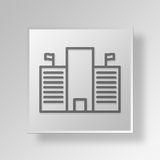 3D government building Button Icon Concept Royalty Free Stock Photography
