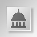3D  Government Button Icon Concept Royalty Free Stock Photography