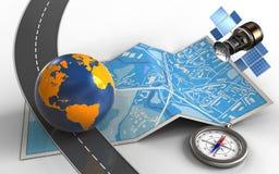 3d gps satelliet Stock Foto's