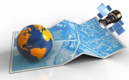 3d gps satelliet stock illustratie
