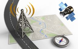 3d gps satellite. 3d illustration of bright map with antenna and compass Royalty Free Stock Images