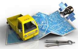 3d gps satellite. 3d illustration of city map with yellow truck and gps satellite royalty free illustration