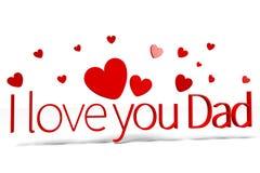 3D gráficos, corazones, el día del papá, te amo papá… Imagen de archivo