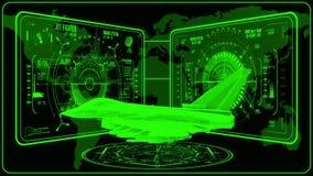 3D gräsplan Jet Fighter HUD Interface Motion Graphic Element stock illustrationer