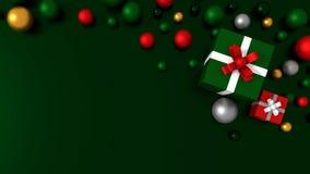 3d GRÜNEN die Geschenkbox, die mit einem WEISSEN Satinbandbogen gebunden wird Lizenzfreie Stockfotografie