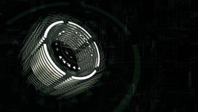 3D grünen Zylinder sich dreht in Raum, Hintergrund ein Brett der elektrischen Ladung vektor abbildung