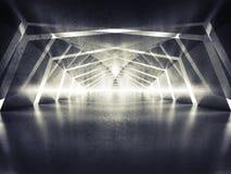 3d gör sammandrag mörk glänsande overklig tunnelinrebakgrund Royaltyfria Foton