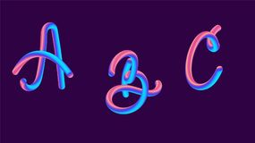 3d gradient lettering holographic. Font set with letter - a, b, c . Vibrant gradient shape. Liquid color path. Typography vector illustration. Bubble font with Stock Images