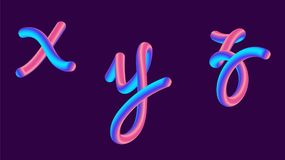 3d gradient lettering holographic. Font set with letter - x, y, z . Vibrant gradient shape. Liquid color path. Typography vector illustration. Bubble font with Royalty Free Stock Photo
