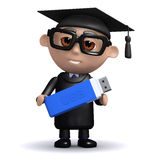 3d Graduate backs up his data onto a USB stick Royalty Free Stock Photo