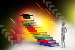 3d graduate with book and graduation hat. In attractive background Royalty Free Stock Photos