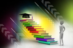 3d graduate with book and graduation hat. In attractive background Royalty Free Stock Images