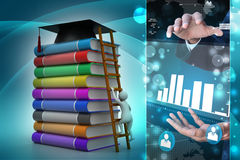 3d graduate with book and graduation hat. In color background Royalty Free Stock Image