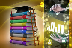 3d graduate with book and graduation hat. In color background Stock Images