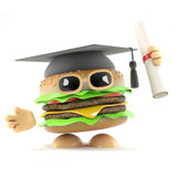 3d Graduate burger. 3d render of a burger graduating from fast food academy Royalty Free Stock Photo