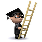 3d Graduate climbs a ladder Royalty Free Stock Photos