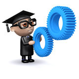 3d Graduate with gears Royalty Free Stock Photo