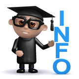 3d Graduate has info Royalty Free Stock Photo