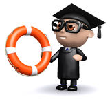 3d Graduate holding a lifering Royalty Free Stock Images