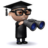 3d Graduate looks through binoculars Stock Image
